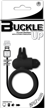 Buckle Up - USB Silicone Rabbit Cockring (Black)