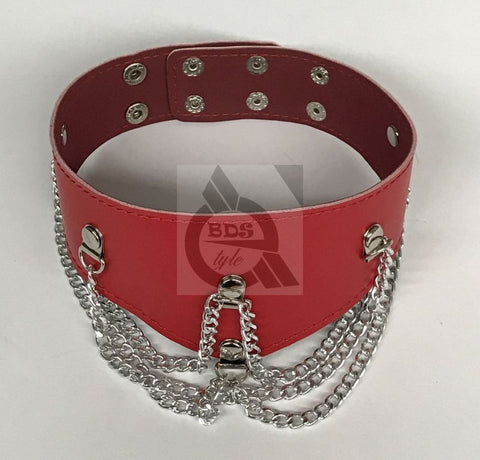 Ladies Fetish Collar With Chains Heavy
