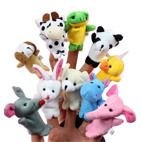 10pcs/set Hot sale Cartoon Animal Finger Puppet Plush Toys Children Favor Dolls - Babiesrhere