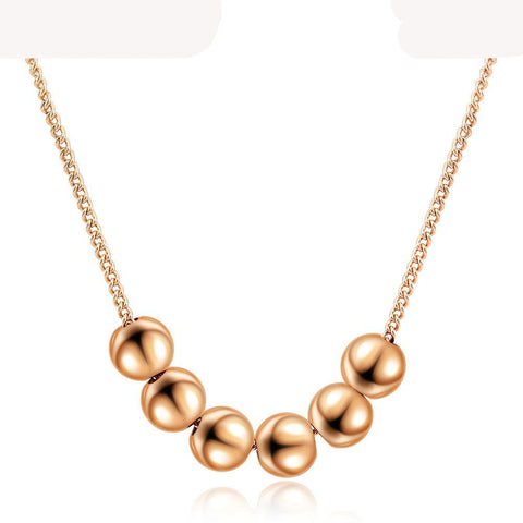 Small Bead Ball Rose Gold Color Pendant Necklace Jewelry CZ Crystal Wedding Gift For Women