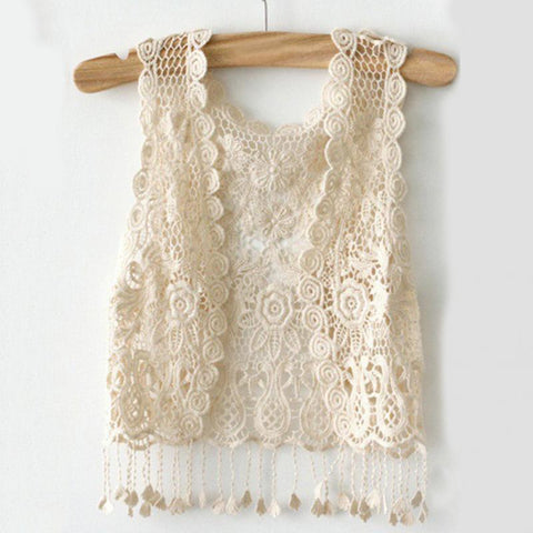 Bohemian Crochet Vest Retro Vintage Hollow Out Summer Tops Gilet Tassel Open Stitch Kimono Cardigan - babiesrhere