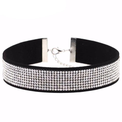 Black Leather Rhinestone Choker Necklace Women Crystal Choker Statement chocker collar fashion jewellery