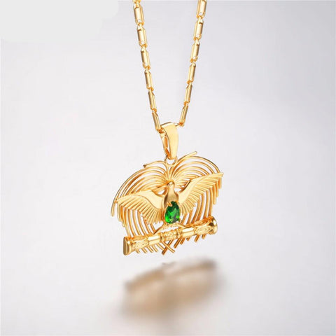 Bird-of-Paradise Pendant Necklace Gold Color Jewlery Bowerbirds Charm Necklace