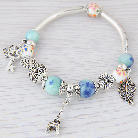 Fashion Silver Color Paris Eiffel Tower Leaves Charm Bracelets & Bangles Crystal Murano Beads Key Lock Bracelet For Women