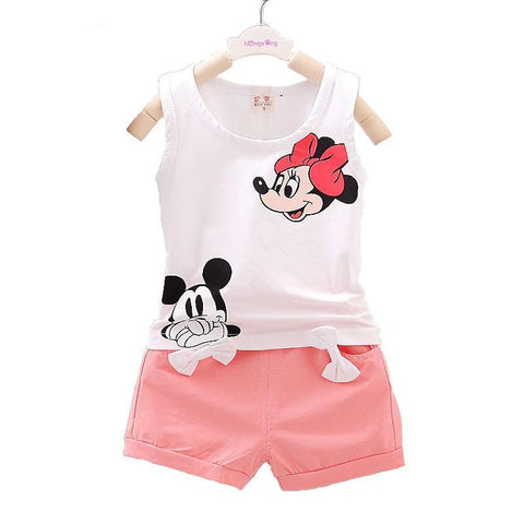 2016 Minnie Spring Baby Clothing Sets Children Boys Girls Kids Brand Sport Suits Cotton Short + Pant