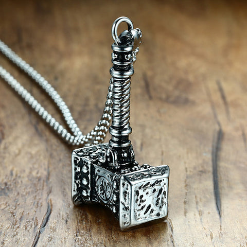 Mens Solid Viking Thors Hammer Pendant Necklace Stainless Steel Vintage Jewelry