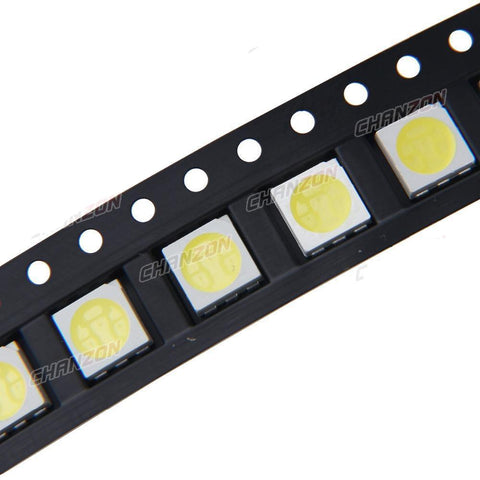 100pcs SMD PLCC LED 5050 White Ultra Bright 15-18LM 60mA 3V Light Emitting Diode Lamp - Babiesrhere