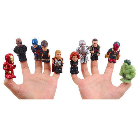 10pcs/Set The Avengers Super Heroes Action Figure Finger Puppet For Christmas Gifts - babiesrhere