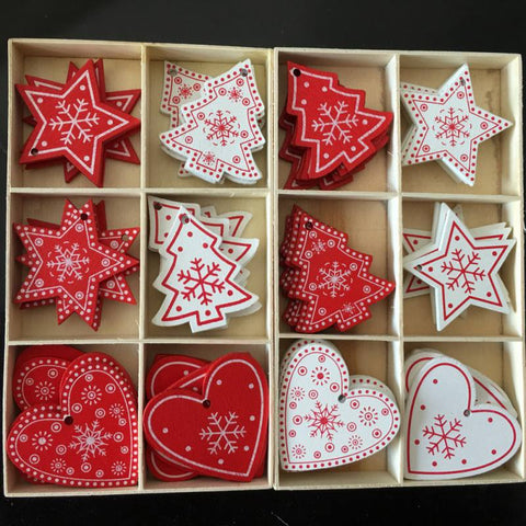 10pcs/set White Red Christmas Tree Ornament Angel Snow Elk Star Wooden Hanging Pendants - babiesrhere