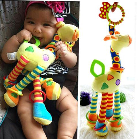 Plush Infant Baby Development Soft Giraffe Animal Handbells
