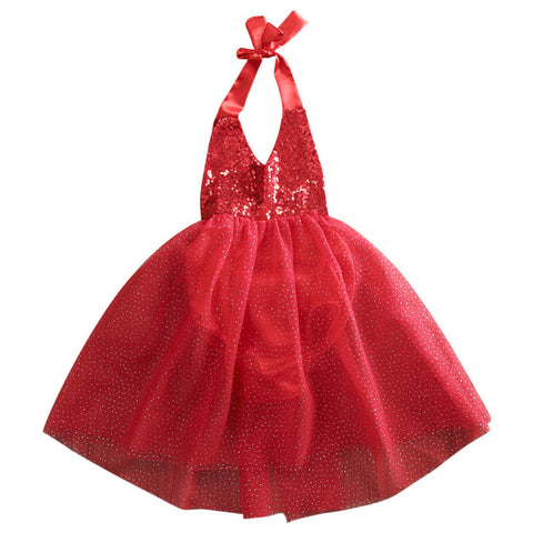 Lovely Baby Girls Sequins Tulle Bow Tutu Gown Formal Party Dresses Clothes 0-2Y
