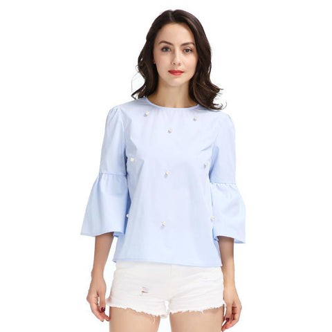 Women elegant pearls beading flare sleeve shirt O neck blouse three quarter sleeve summer brand casual tops blusas