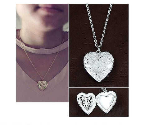 New Jewelry Heart Photo Memory Locket Necklace Pendant Valentine's Day Gift For Women Girl - babiesrhere