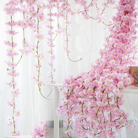Sakura Cherry Rattan Wedding decoration flowers Silk wall Hanging Garland Wreath