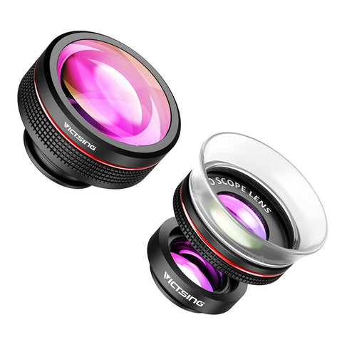 3-in-1 Phone Camera Lens Kit Clip-On Supreme Fisheye Lens + 12X Macro + 24X Lens for iPhone etc