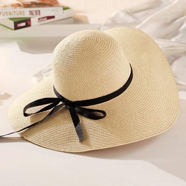 c134360156510 ... Round Top Wide Brim Straw Hats Summer Sun Hats for Women With Leisure  Beach Hats Lady ...