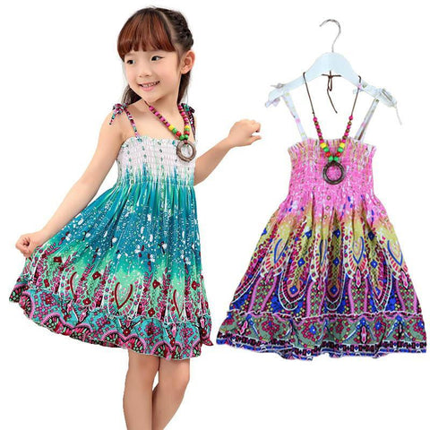 2-7T girls summer bohemian style Fashion Knee-length beach dresses with necklace - babiesrhere