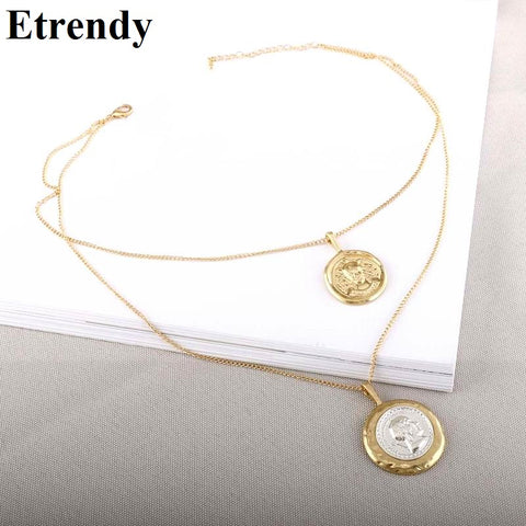 2018 New Layers Beauty Image Coin Choker Necklace Geometric Round Statement Necklace & Pendants For Women Vintage Sweater Chain - babiesrhere