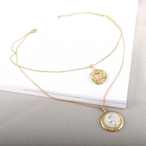 New Layers Beauty Image Coin Choker Necklace Geometric Round Necklace & Pendants - babiesrhere