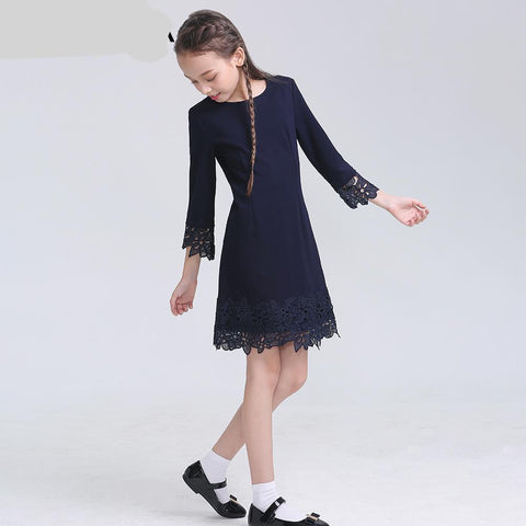 School Girls Dress Lace Formal Kids Dresses Winter Knitted School Uniforms For Girls - babiesrhere