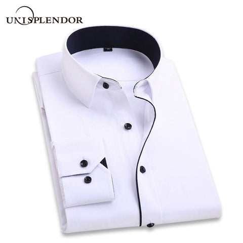 Men Wedding Shirt Long Sleeve Men Dress Shirts Man Business Party Solid Casual Shirt - babiesrhere