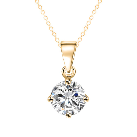 Simple Fashion Jewelry Silver and Gold Color Round Shape CZ Cubic Zirconia Pendant Necklace for Women Wedding Jewelry - babiesrhere