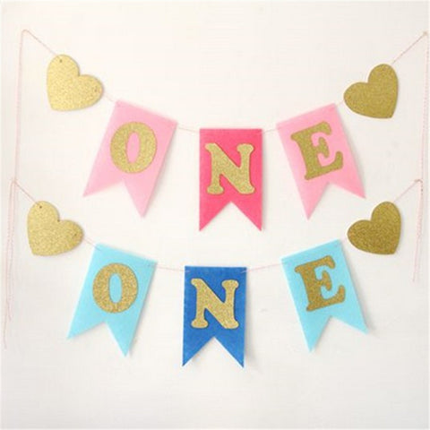 1 Pcs/Pack Baby First Birthday Blue Pink ONE Year 1st Birthday Party Decoration Boy Girl - babiesrhere