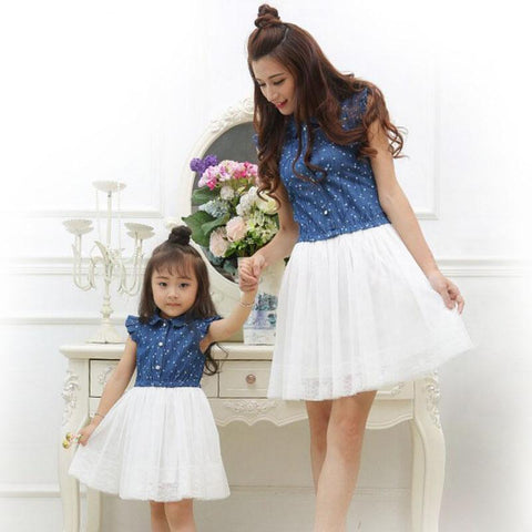 Mother Daughter Dresses 2017 Summer Family Clothing Family Matching Outfits Dress for Kids and Women - babiesrhere