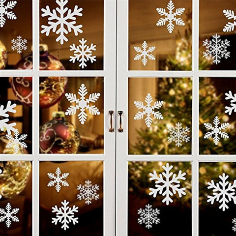 27Pcs/Lot Christmas Snowflake Window Sticker Winter Wall Stickers Kids Room Decorations - babiesrhere