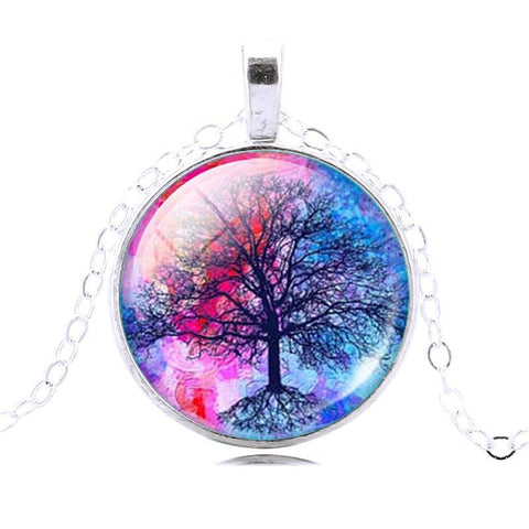 Fashion Life Tree Pendant Necklace Vintage Silver Color Chain Necklace