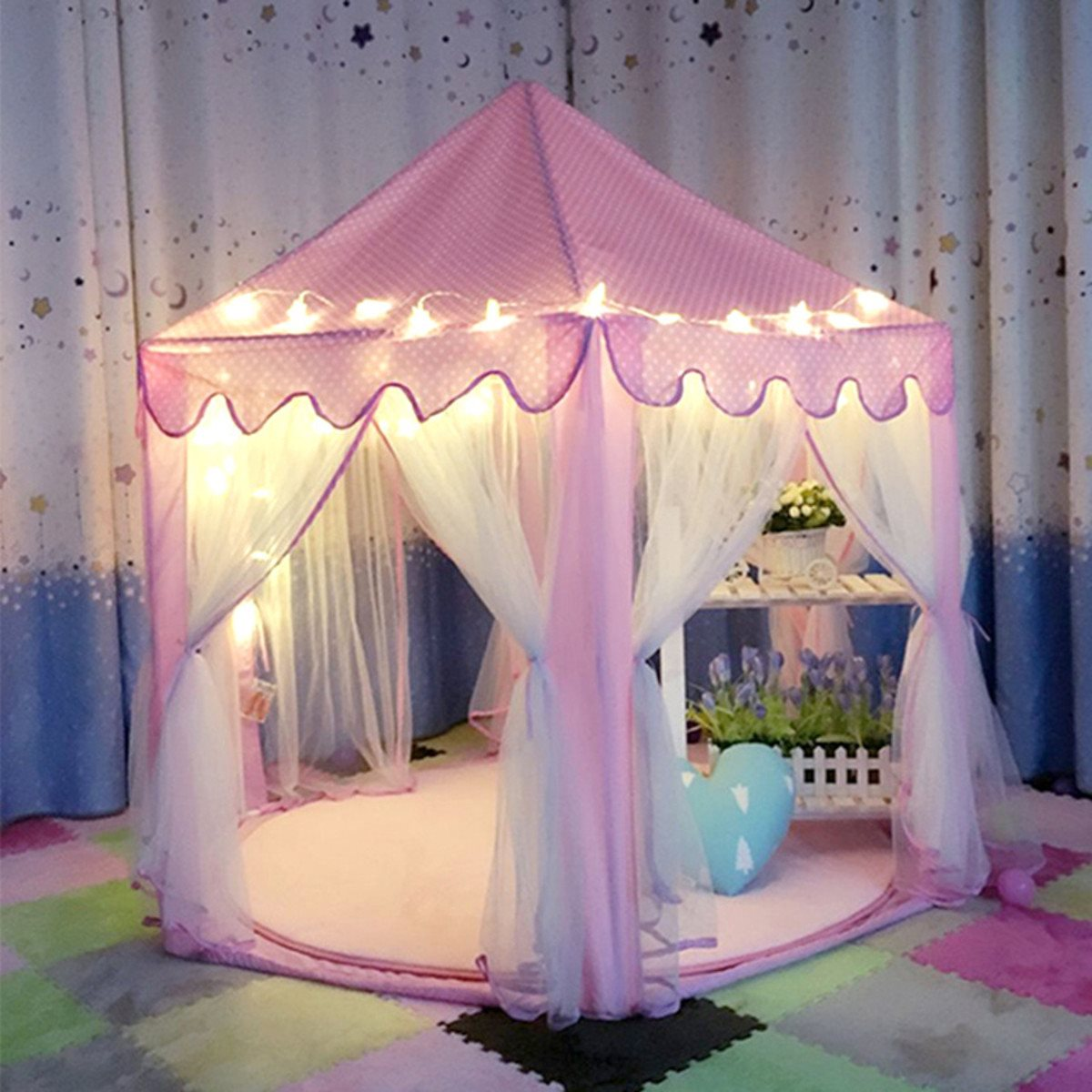 Lovely Girls Pink Portable Princess Castle Cute Playhouse Children Kids Play Tent Outdoor Toys Beach Tent For Children Kids : pink play tent - memphite.com
