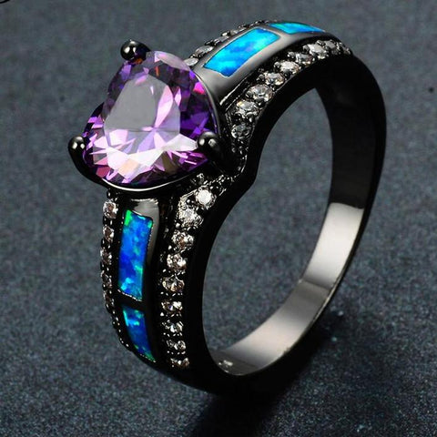 Multicolor Heart Blue/White/Pink Fire Opal Rings For Women Fashion Black Birthstone Ring - babiesrhere