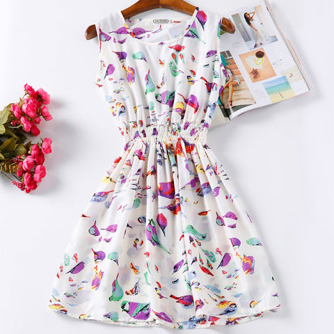 Summer Women Dress Vestidos Print Casual Bohemian Mini Beach Dress