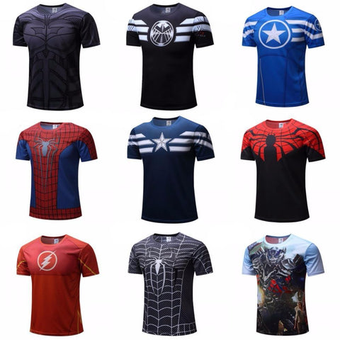 Superman/Batman/spider man/captain America /Hulk/Iron Man / T shirt men fitness shirts men t shirts - babiesrhere