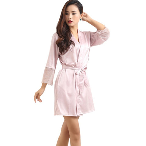 Mid-sleeve Sexy Women Deep-V Nightwear Robes Plus Size Lace Silk Female Bathrobes Sleepwear - babiesrhere