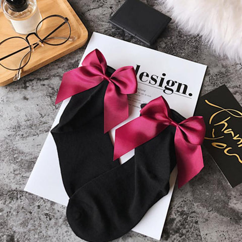 34 Colors Summer Women socks  After The Heel Ribbon Big Bow Short Socks Ankle Socks - babiesrhere