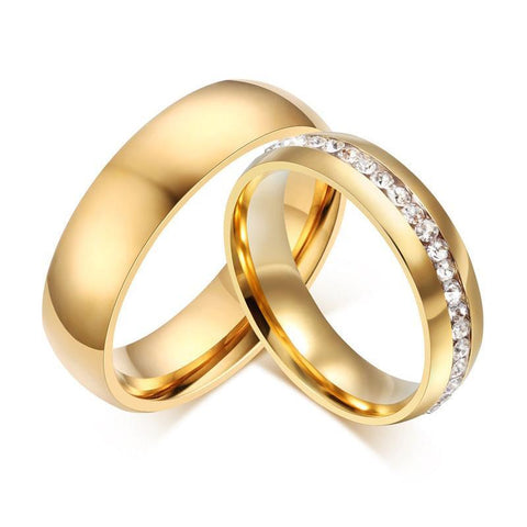 Gold color Stainless Steel Wedding Bands Shiny Crystal Ring for Female Male Jewelry 6mm Engagement Ring USA Size 5-13