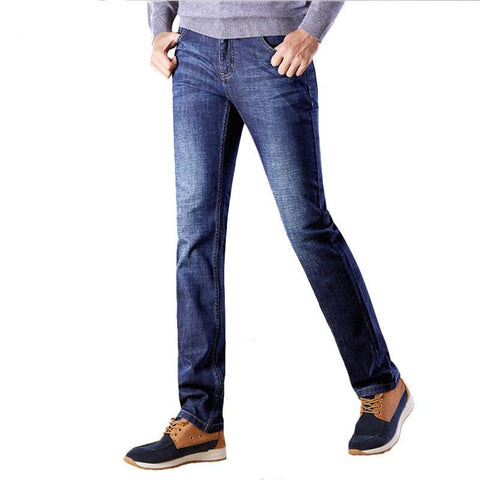 New Class Style Men Jeans Blue Color Light Wash Straight Long Pants Plus Size High Quality Jean