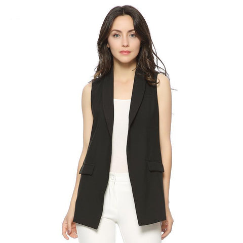 Women Fashion elegant office lady pocket coat sleeveless vests jacket outwear casual brand WaistCoat colete feminino