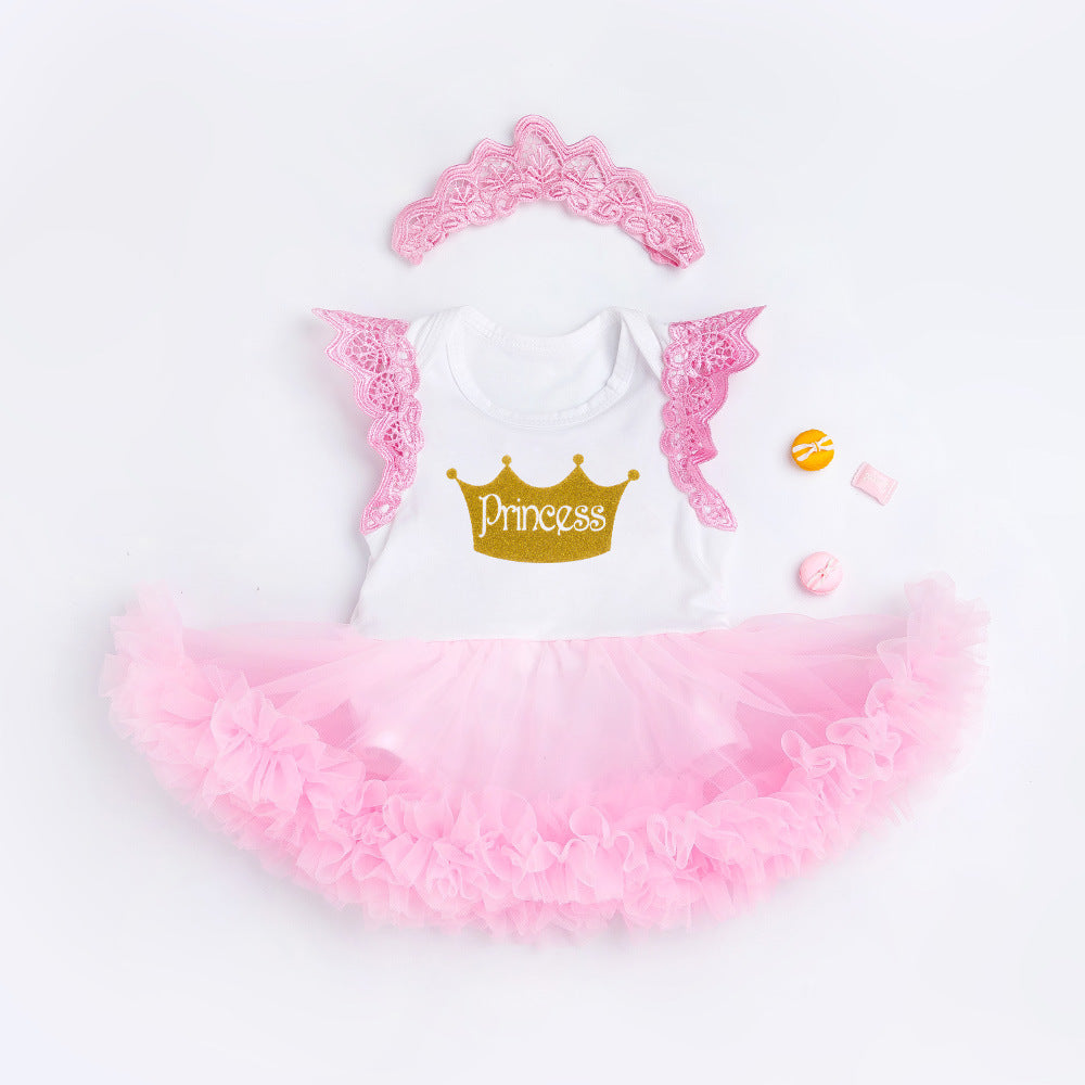 bfaf87b7eb3 Valentines Day Baby Girl Clothes Princess Romper Dress Sweet Tutu Mesh Dress  With Crown Outfits