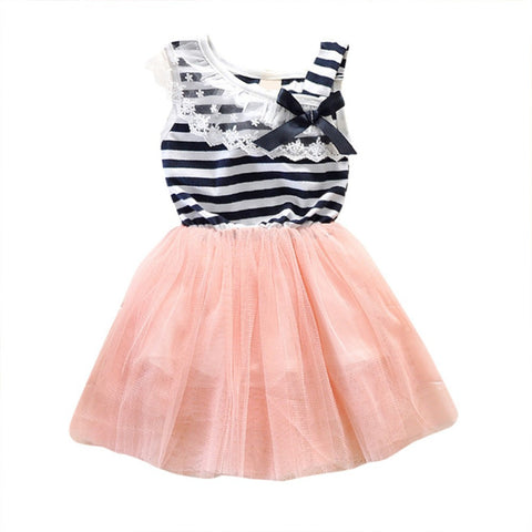 Summer New Fashion Cute Dress 2-6Y Girls Stripe Lace Tutu Brace Bow knot Ruffle Tulle Baby One-pc