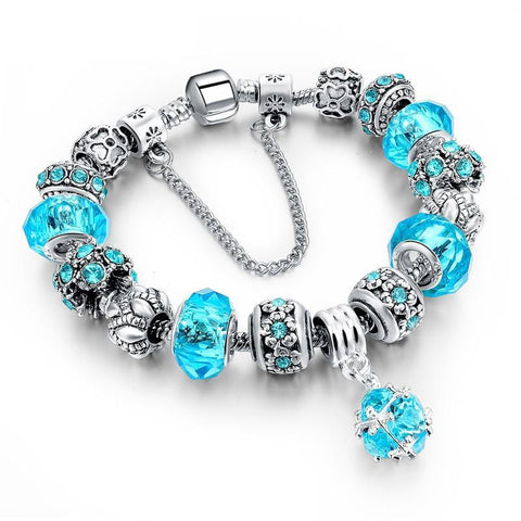 European Style Authentic Tibetan Silver Blue Crystal Charm Bracelet for Women Original DIY Beads Jewelry Christmas Gift