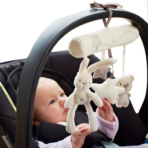 Rabbit baby hanging bed safety seat plush toy Hand Bell Multifunctional Plush Toy Stroller Mobile - babiesrhere