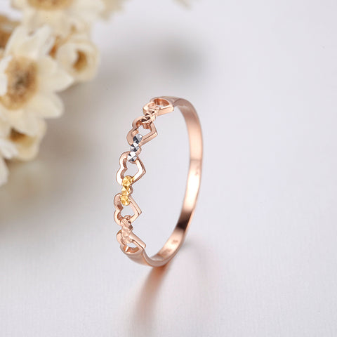 18k Pure Gold Heart Ring 2017 New Hot Selling Top Women Female Models Girl Miss Genuine Real 750 Jewelry Party Romantic - babiesrhere