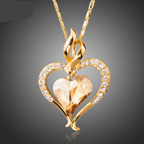 Long Link Chain Heart Austrian Crystal Gold Color Heart Pendant Necklace for Gift of Love - babiesrhere