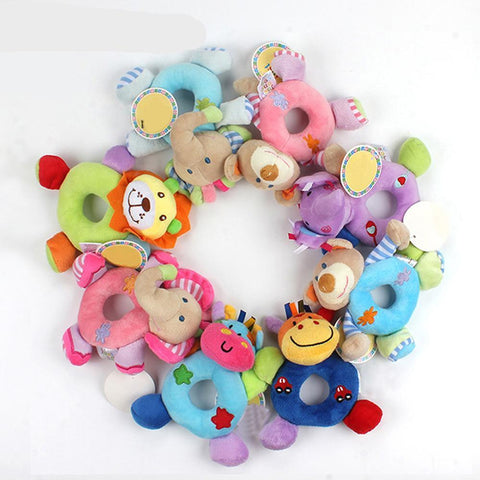 Newborn Cute Cotton Baby Boy Girl Rattles Infant Animal Hand Bell Kids Plush Toy