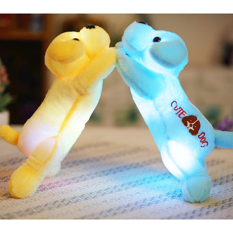 Plush dog with colorful LED light glowing dogs with children toys for girl kids birthday gift