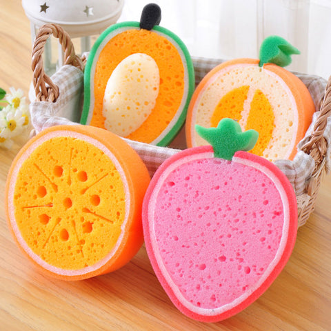 1pcs Creative Fruits Sponge Brush Tableware Glass Washing Cleaning Kitchen Cleaner Tool