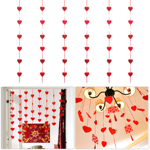 6pcs Red Heart Garland String Chain Wedding Valentine'S Day Birthday Kids Baby Shower Decoration - babiesrhere