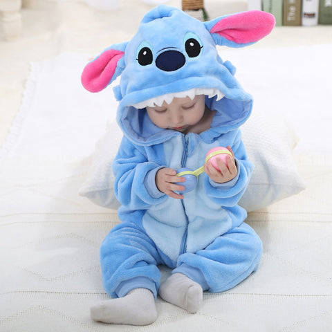 Autumn Winter Flannel Infant Baby Boy Girl Cartoon Long Sleeve Hooded Animal Jumpsuit Rompers
